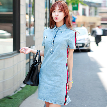依斯美尔 2014新款夏女装韩版牛仔 连衣裙纯色修身通勤 POLO领 潮