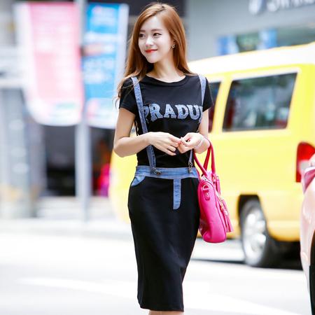 依斯美尔2014韩版新款女装连衣裙通勤短袖圆领低腰套头纯色背带裙