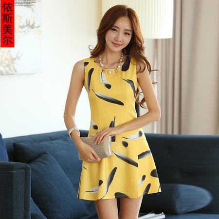 2014夏韩版时尚潮流新品女装爆款羽毛无袖黄色气质通勤圆领连衣裙